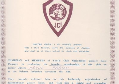 Youth Club Ahmedabad Jaygees Certificate