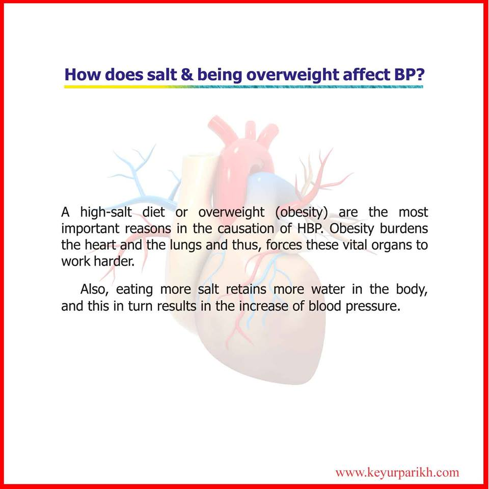 How does salt and being over weight after BP?