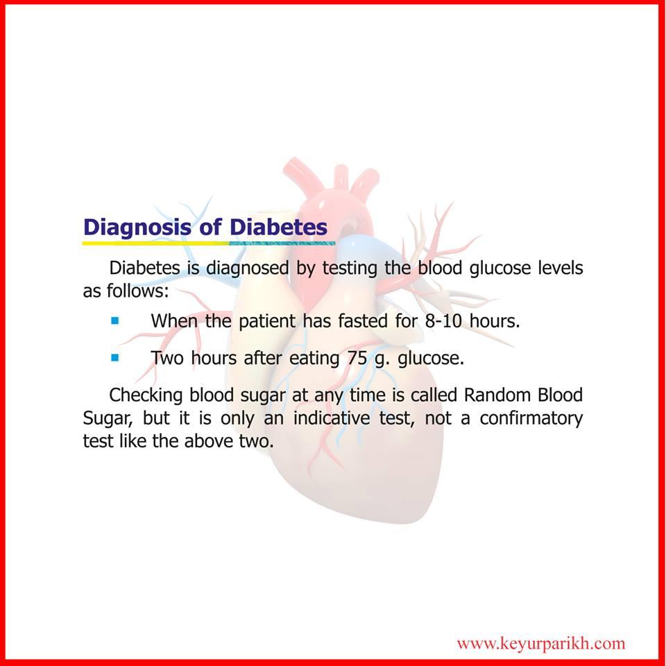 Diagnosis of diabetes.