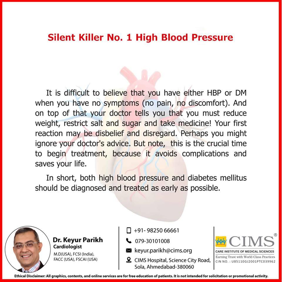 Silent killer number 1- High blood pressure.