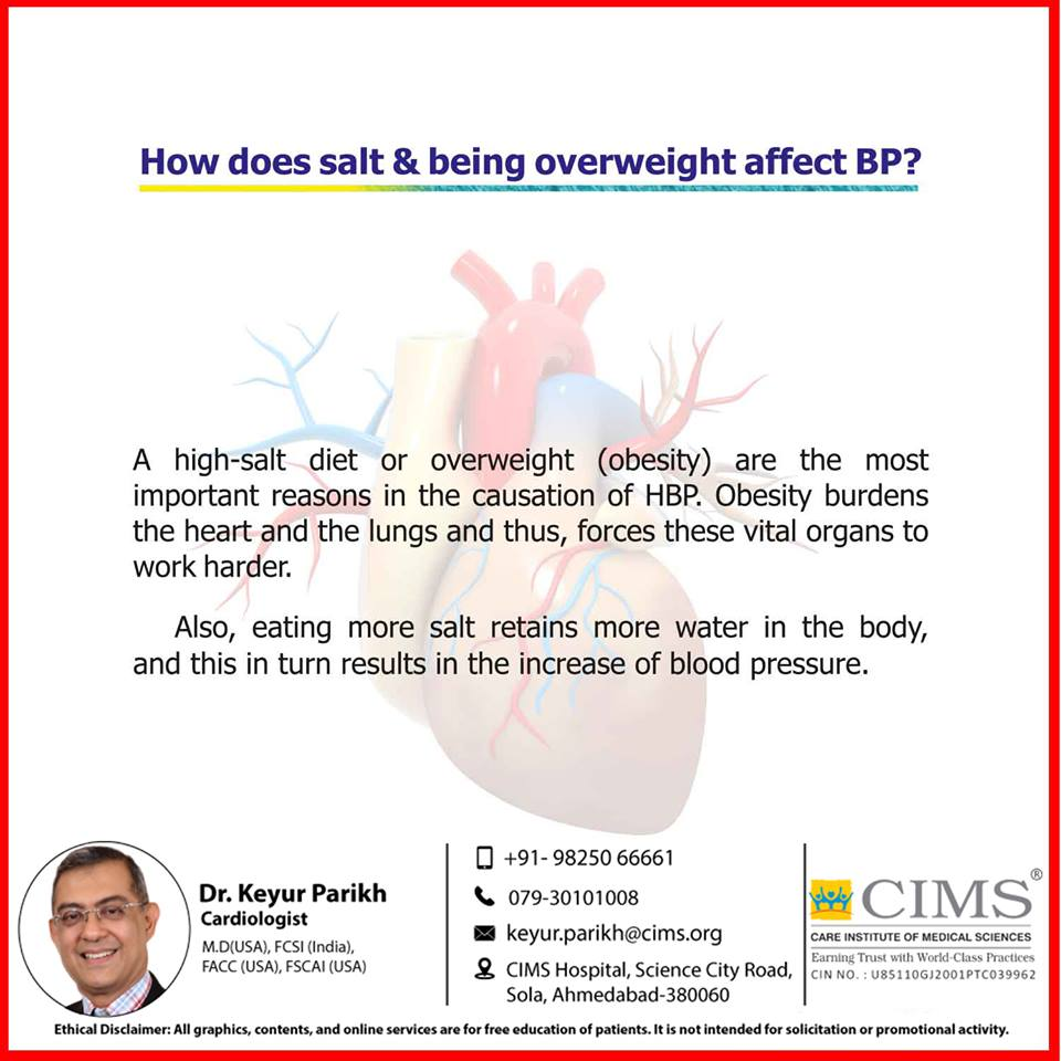 How does salt and being overweight affect BP?