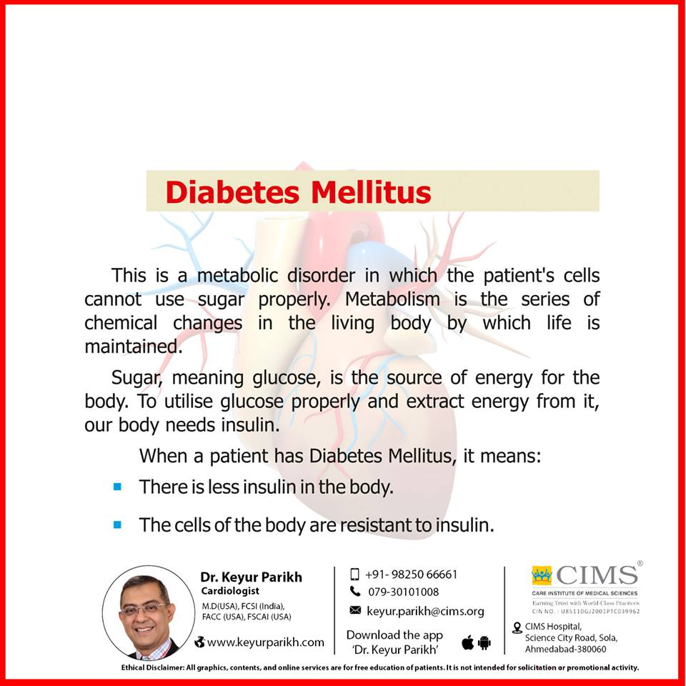 Silent killer number 2: Diabetes mellitus.