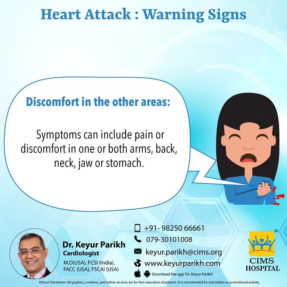 Warning signs of heart attack: Discomfort in other areas.