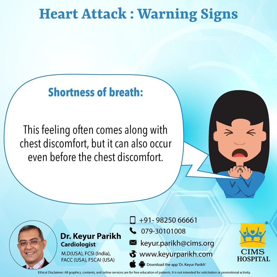 Warning signs of heart attack: Shortness of breath.