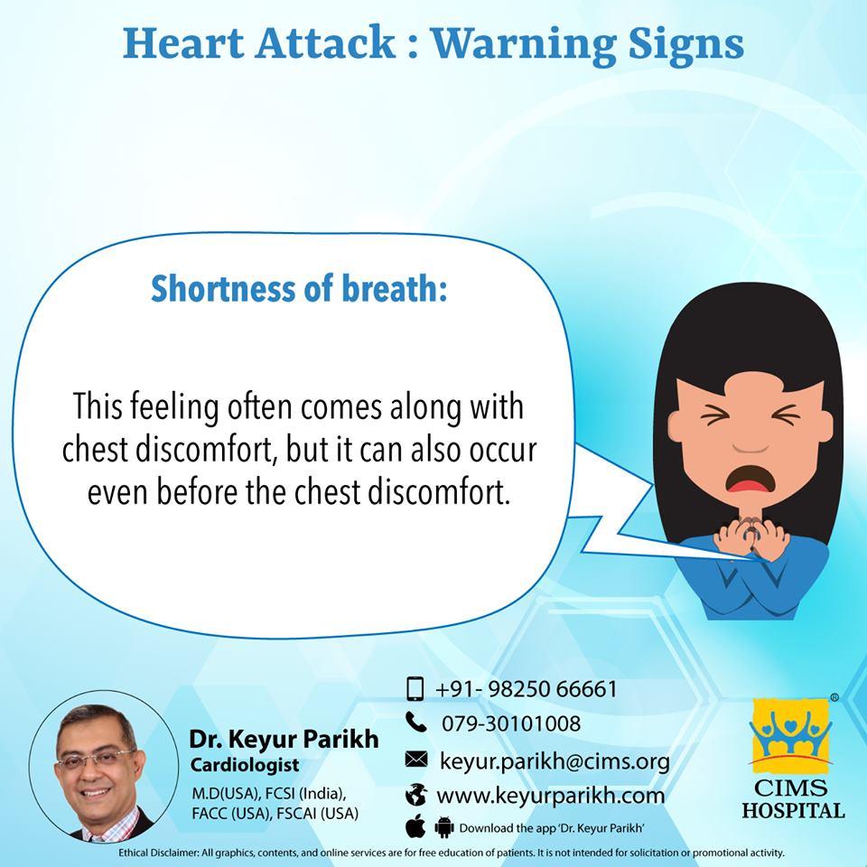 Warning signs of heart attack: Shortness of breath.